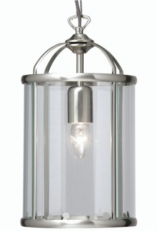 Fern Satin Chrome 1 Light Hanging Hall Lantern