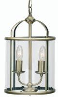 Fern Antique Brass 2 Light Hanging Hall Lantern