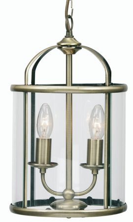 Fern Antique Brass 2 Light Hanging Hall Lantern