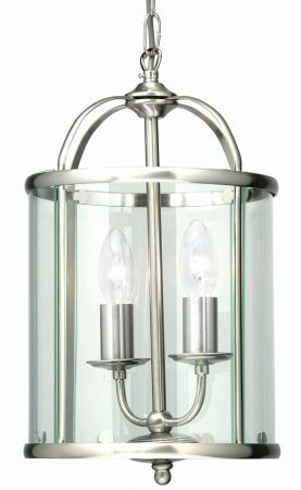 Fern Antique Chrome 2 Light Hanging Hall Lantern