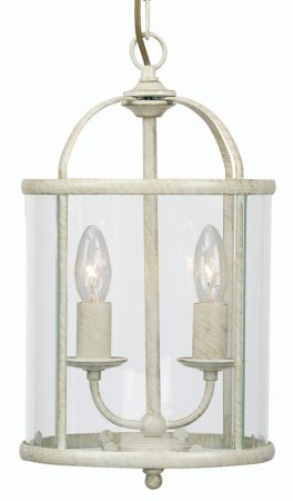 Fern Cream And Gold 2 Light Hanging Hall Lantern