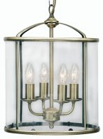 Fern Antique Brass 4 Light Hanging Hall Lantern