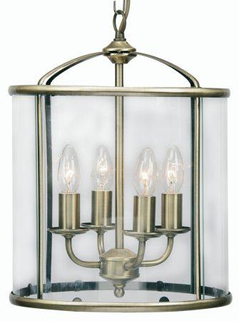 Fern Antique Brass 4 Light Hanging Hall Lantern