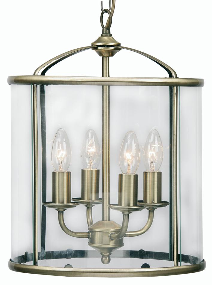 Fern Antique Brass 4 Light Hanging Hall Lantern 351 4 Ab