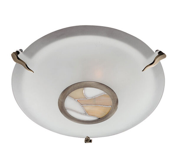 Frosted Glass Art Deco Style Flush Ceiling Light