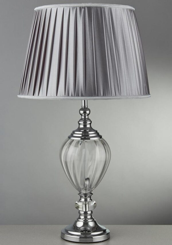 Greyson 1 Light Chrome Table Lamp Clear Glass Pewter Shade