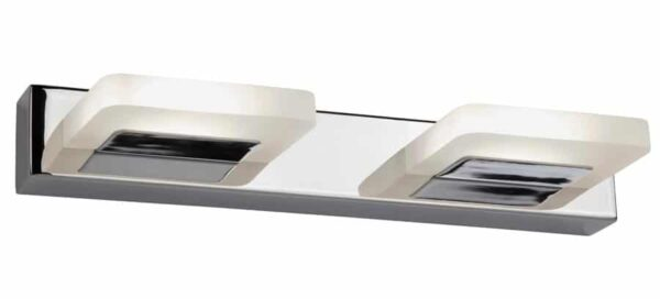 Modern 2 LED light wall light in polished chrome frosted shades