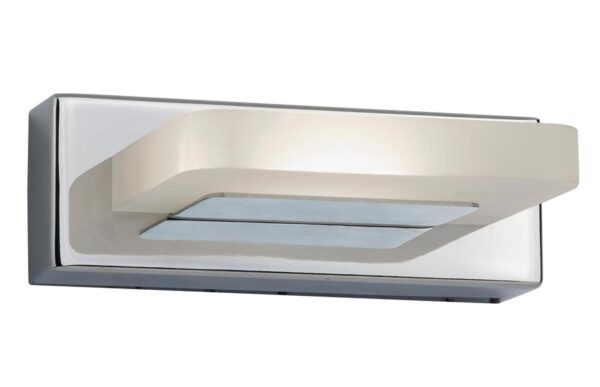 Modern LED 1 light wall light in polished chrome frosted shade