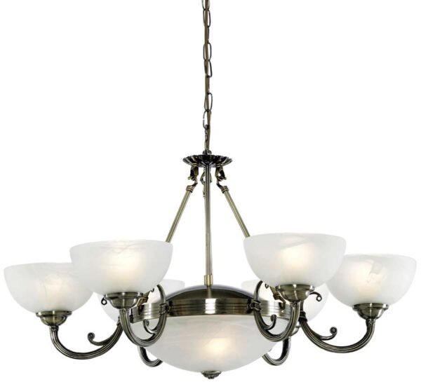 Windsor Art Deco Antique Brass 8 Light Alabaster Glass Chandelier