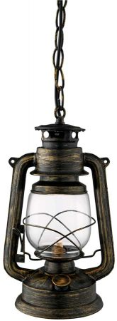 Traditional Small Black And Gold Miners Hanging Lantern