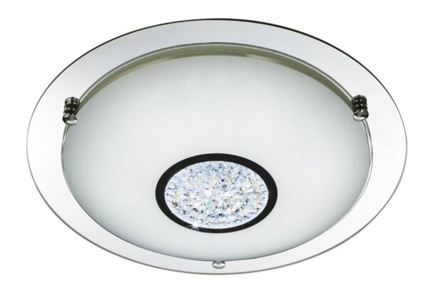 Polished chrome LED 31cm bathroom ceiling light crystal