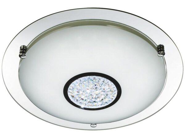 Polished chrome LED 41cm bathroom ceiling light crystal