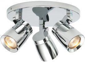 Knight Modern 3 Lamp Bathroom Ceiling Spotlight Polished Chrome