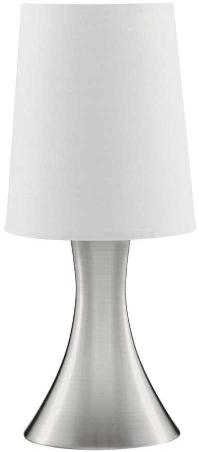 Modern Satin Silver Funnel Touch Dimmer Table Lamp