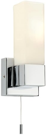 Square Modern Switched Bathroom Wall Light Polished Chrome
