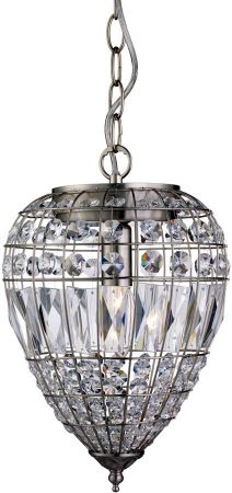 Traditional Satin Silver Crystal Feature Ceiling Pendant