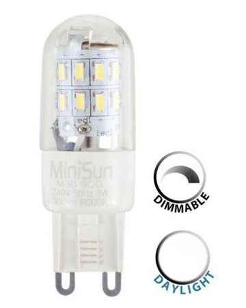 3w Dimmable LED G9 Capsule Bulb 6500k Daylight White 300 Lumen