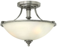 Hinkley Truman Art Deco 2 Lamp Semi Flush Light Antique Nickel