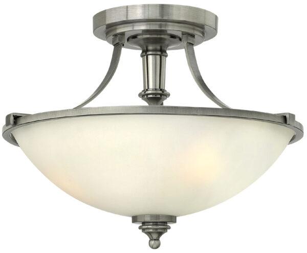 Hinkley Truman 2 Light Semi Flush Antique Nickel Art Deco Style
