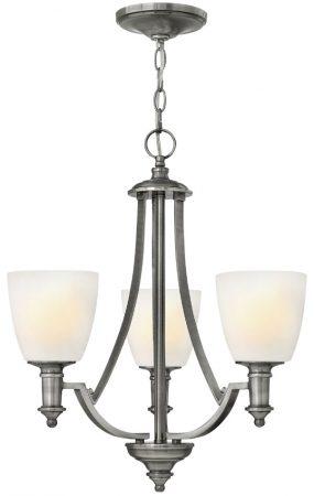 Hinkley Truman 3 Light Chandelier Antique Nickel Art Deco Style