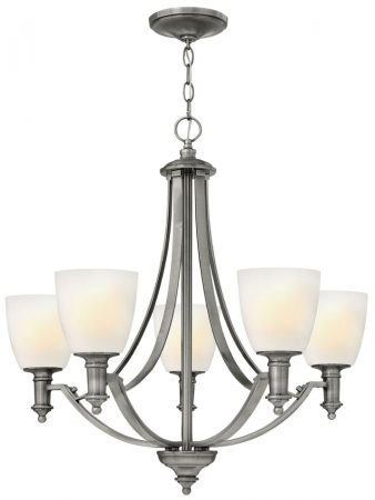 Hinkley Truman 5 Light Chandelier Antique Nickel Art Deco Style