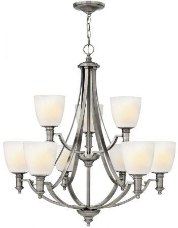 Hinkley Truman 9 Light Large Chandelier Antique Nickel Art Deco Style