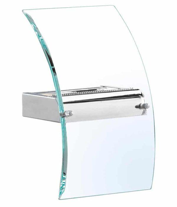 Modern LED curved glass wall light polished chrome