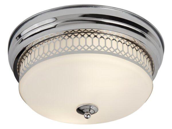 Edinburgh flush bathroom ceiling light polished chrome opal glass