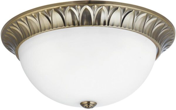 Large Antique Brass 3 Lamp Flush Mount Ceiling Light Opal White Glass