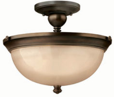 Hinkley Mayflower Olde Bronze 3 Light Semi Flush Amber Glass Bowl