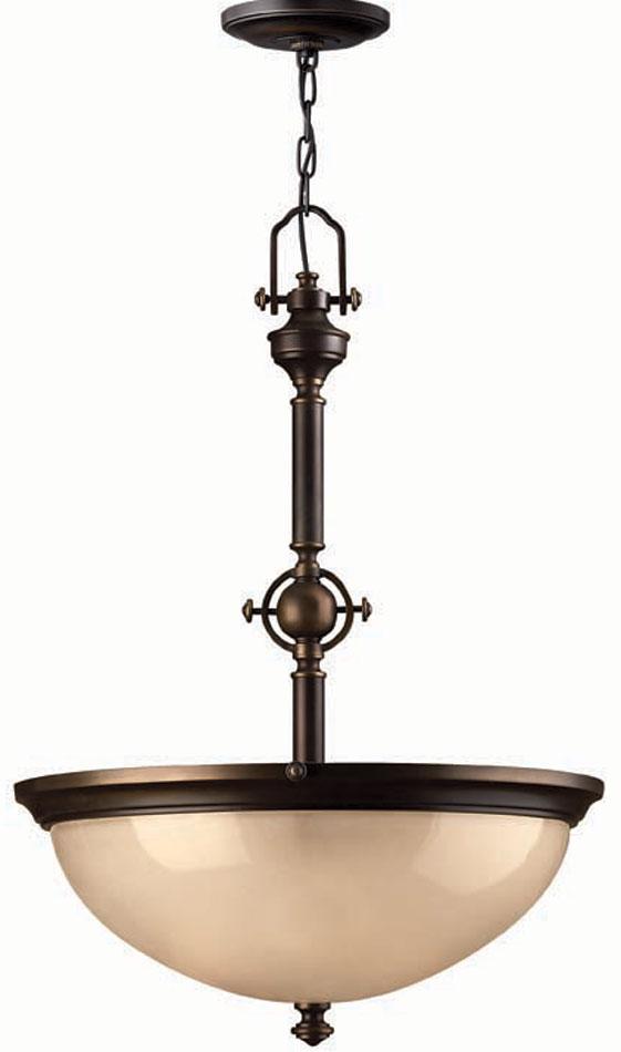 Hinkley Mayflower Olde Bronze 3 Light Pendant Amber Glass Bowl