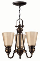 Hinkley Mayflower Olde Bronze 3 Light Chandelier With Amber Glass Shades