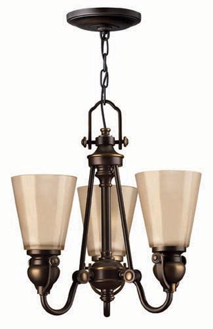 Hinkley Mayflower Olde Bronze 3 Light Chandelier Amber Shades