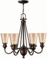 Hinkley Mayflower Olde Bronze 6 Light Chandelier With Amber Glass Shades