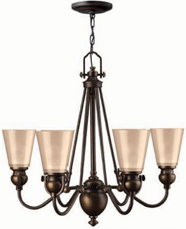 Hinkley Mayflower Olde Bronze 6 Light Chandelier Amber Shades