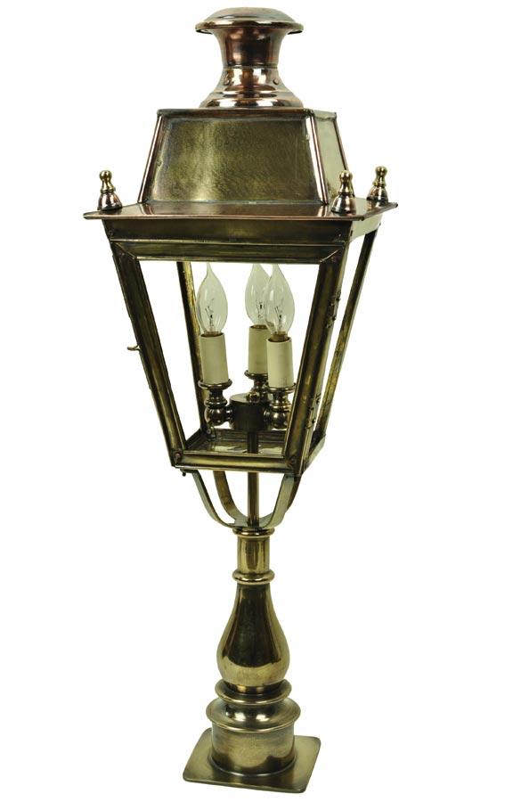 Balmoral large solid brass 3 light replica Victorian pillar lantern