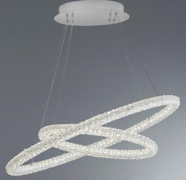 Circle LED Large 2 Ring Pendant Ceiling Light Chrome Crystal
