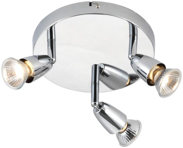 Amalfi Modern Round 3 Lamp Ceiling Spotlight Plate Polished Chrome
