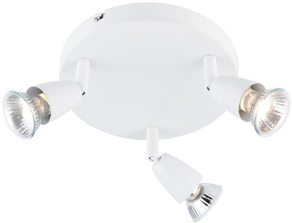 Amalfi Modern Round 3 Light Ceiling Spotlight Plate Gloss White