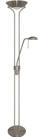 Modern Satin Silver Dual Dimmer Mother and Child Floor Lamp