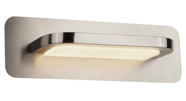 Modern LED 1 light wall light in satin silver