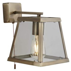 Voyager Switched 1 Light Wall Light Lantern Antique Brass