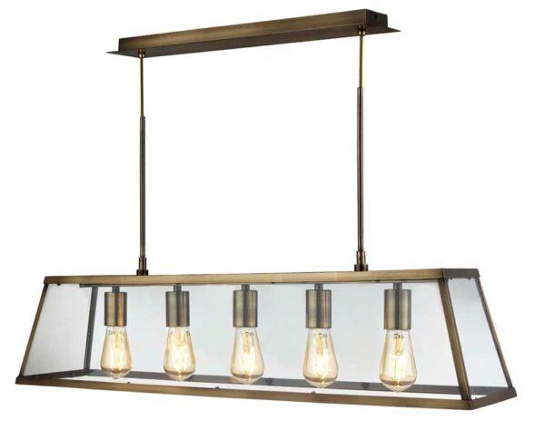 Voyager 5 Light Lantern Ceiling Pendant Bar Antique Brass