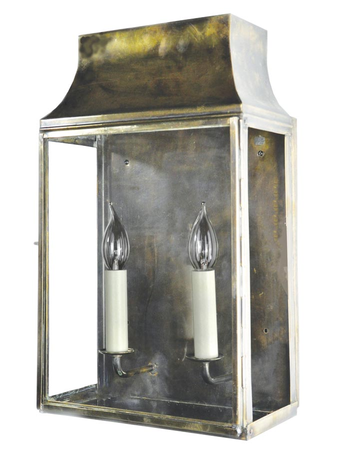 Strathmore medium 2 light vintage outdoor wall lantern solid brass
