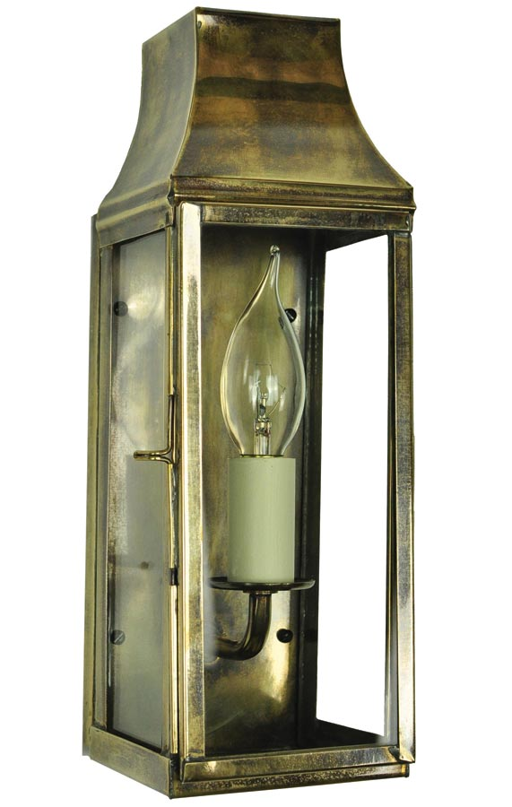 Strathmore small vintage outdoor slim wall lantern solid brass