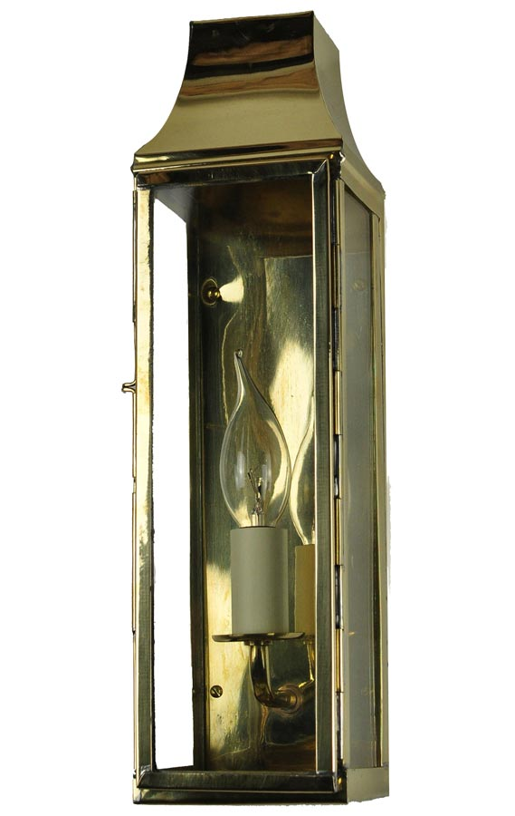 Strathmore large vintage outdoor slim wall lantern solid brass