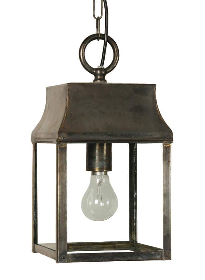 Strathmore small vintage hanging outdoor porch lantern solid brass