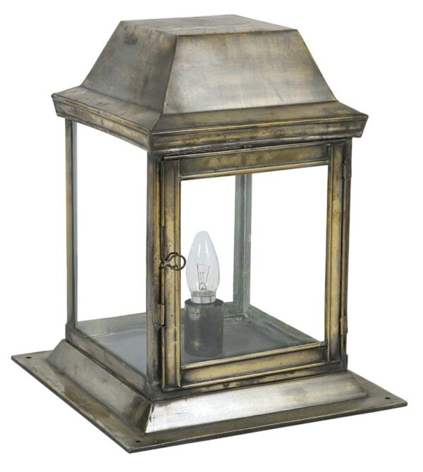 Strathmore small 1 light vintage outdoor gate post lantern solid brass