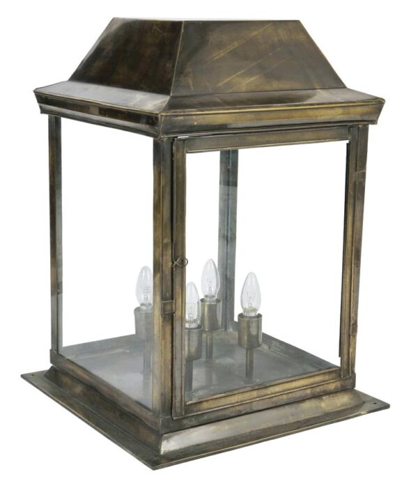 Strathmore large 4 light vintage gate post lantern solid brass