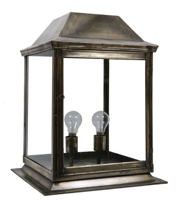 Strathmore medium 2 light vintage outdoor gate post lantern solid brass